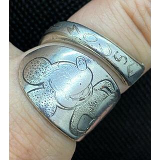 アンティーク リング スプーンリング 16号 調節可 ミッキーマウス 2396