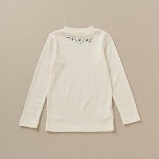 メゾピアノ(mezzo piano)のメゾピアノ 新品 保温 ビジューつきテレコTシャツ(Tシャツ/カットソー)