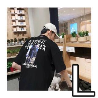 【新品未使用】ユニセックス バックプリント Tシャツ ストリート 黒 メンズ