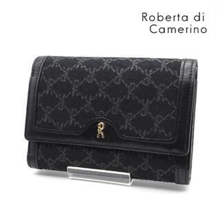 ロベルタディカメリーノ(ROBERTA DI CAMERINO)の《美品》Roberta di Camerino 二つ折り財布 ブラック 総柄(財布)