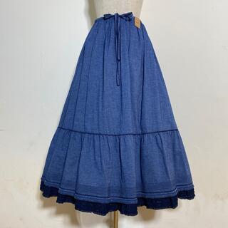ピンクハウス(PINK HOUSE)のピンクハウス2020年ソフトデニム裾に飾りフリル付スカート定価3万800円(ロングスカート)