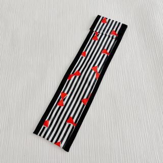 リコーダーケース 女の子 リボン ストライプ ブラック(外出用品)