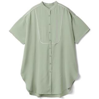 GRL - 配色パイピングブザムシャツ グリーン
