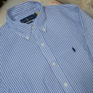 ラルフローレン(Ralph Lauren)の新品☆ラルフローレン 長袖シャツ 水色ストライプ US S サッカー地(シャツ)