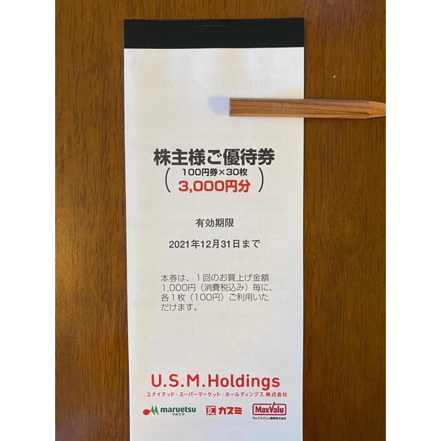 AEON(イオン)のUSMH 株主優待券3,000円分(100円×30枚) チケットの優待券/割引券(ショッピング)の商品写真