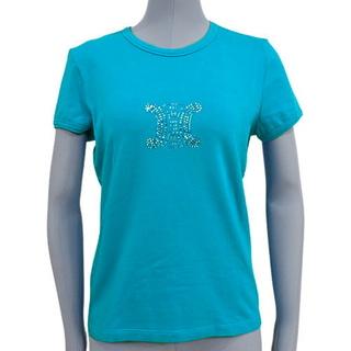 セリーヌ(celine)のセリーヌトップス マカダムラインストーン Tシャツ 水色 40800077578(Tシャツ(半袖/袖なし))