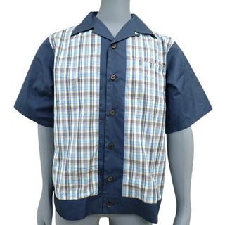 プラダ(PRADA)のプラダトップス チェックシャツ ネイビー紺 水色 黄 40802005524(シャツ)
