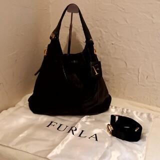 Furla - フルラ FURLA 2way 袋付き ショルダーハンドバッグ ブラック黒 レザー