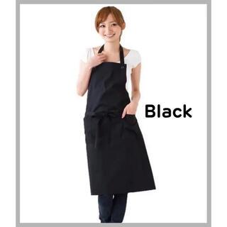 【SALE】エプロン シンプル おしゃれ カフェ風  無地 かわいい ブラック(その他)