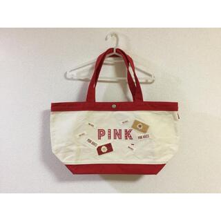 ピンクハウス(PINK HOUSE)の【ほぼ未使用】ピンクハウス 綿 バッグ 赤 ワッペン PINKHOUSE(トートバッグ)