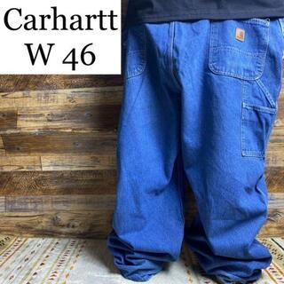 carhartt - カーハートw46ジーンズジーパンデニムペインターパンツバギー古着青ブルー太い太め