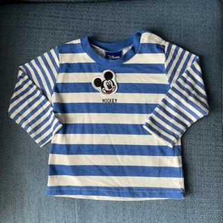 ディズニー(Disney)のDisney☆ブルー ボーダー ミッキー ロゴ ロンT(シャツ/カットソー)