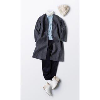 ムジルシリョウヒン(MUJI (無印良品))の新品 無印良品 ウール混ダブルフェイスコート L ダークグレー ノーカラーコート(ロングコート)