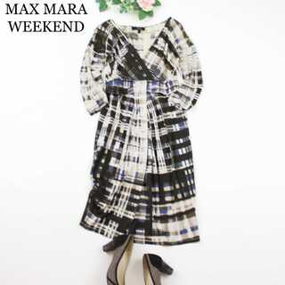 Max Mara - マックスマーラ★シルクジャージー 総柄 カシュクール ワンピース S 膝丈