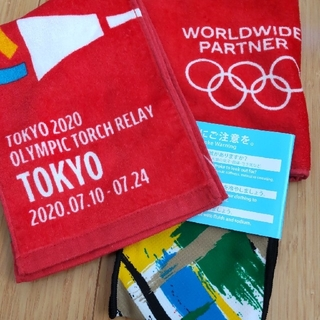 コカコーラ(コカ・コーラ)の3枚で 東京オリンピック 聖火リレー タオル 東京都(ノベルティグッズ)