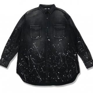 Saint Laurent - マインデニム BIG SHIRT ビッグシルエット ペイント加工シャツ