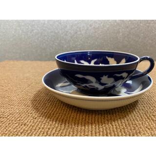 草花折枝白抜紋 紅茶碗皿 深川製磁 4客セット未使用