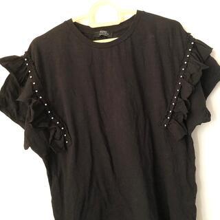 Bershka - Sサイズ 美品 Bershka スタッズ付き Tシャツ 黒 ブラック