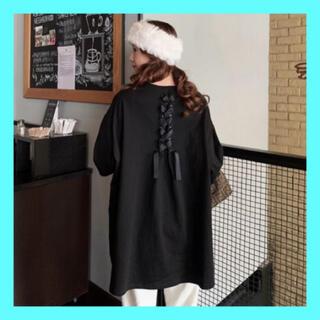バックリボン オーバーサイズ カットソー バックシャン w19(Tシャツ(半袖/袖なし))