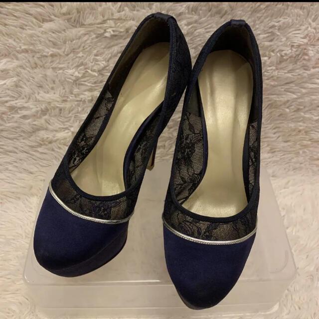 ESPERANZA(エスペランサ)の❤︎ESPELANZA❤︎ネイビーヒールパンプス❤︎24.5cm❤︎早い者勝ち レディースの靴/シューズ(ハイヒール/パンプス)の商品写真