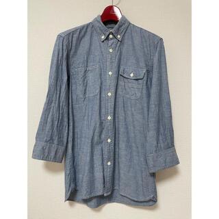 メンズ シャツ Mサイズ 七分丈 ブルー