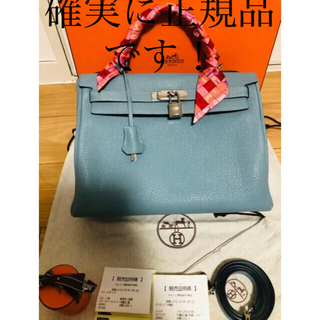 Hermes - 美品 エルメス ケリー32 トゴ 内縫い ブルー ツイリー付き