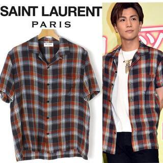 Saint Laurent - SAINT LAURENT PARIS オープンカラーシャツ チェックシャツ