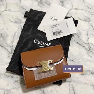 celine - CELINE<新品レシート付き> トリオンフ スモール財布 タン