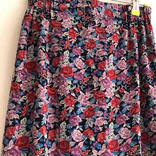ヴィス(ViS)のクロスオーバーの花柄スカート(ロングスカート)