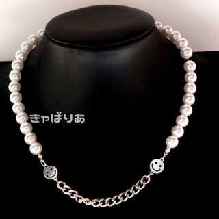 韓国 スマイルネックレス チェーン スマイル ニコちゃん シルバー パール 真珠
