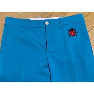 Gucci - ●GUCCIグッチてんとう虫刺繍ターコイズ色パンツ40新品