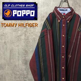 TOMMY HILFIGER - トミーヒルフィガー☆オールド刺繍ロゴビッグレトロストライプシャツ 90s