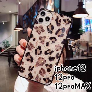 アイフォーン(iPhone)の♥iPhone12 12pro ケース 金箔 レオパード柄 ヒョウ柄 キラキラ(iPhoneケース)