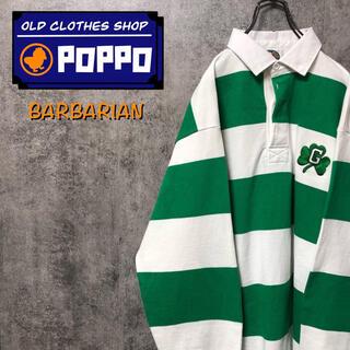 Barbarian - バーバリアン☆カナダ製クローバーチーム刺繍ロゴ太ボーダーラガーシャツ