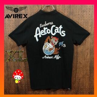 アヴィレックス(AVIREX)のアヴィレックス 前後ド派手刺繍ロゴ 黒 XL ポロシャツ(ポロシャツ)