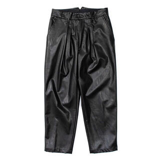 SUNSEA - stein / EX WIDE TAPERED TROUSERS LEATHER