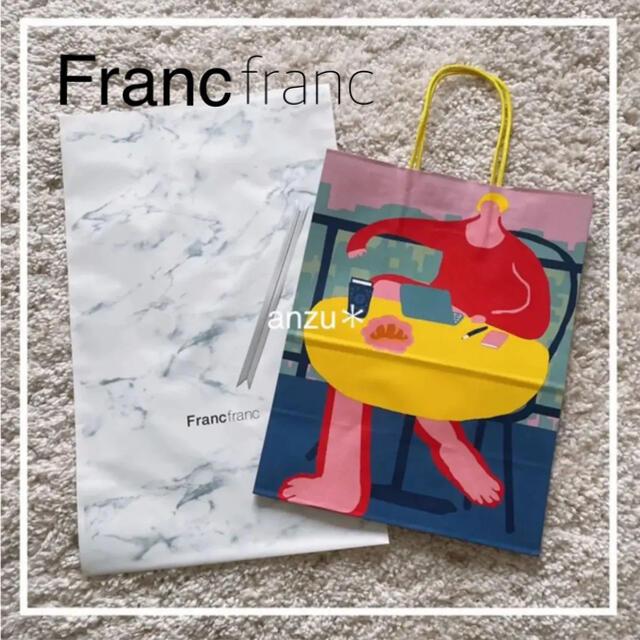 Francfranc(フランフラン)のフランフラン ショップ袋 ギフト袋 リボン 3点 レディースのバッグ(ショップ袋)の商品写真