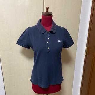 バーバリーブルーレーベル(BURBERRY BLUE LABEL)のバーバリーブルーレーベル 半袖ポロシャツ 紺色(ポロシャツ)