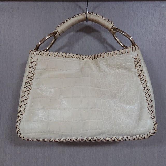 SAZABY(サザビー)のSAZABY 型押し クロコ トート 編み上げ クリーム バッグ ワンハンドル レディースのバッグ(ハンドバッグ)の商品写真
