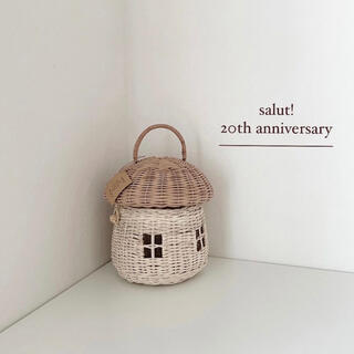 3COINS - サリュ 20周年 ラタンバスケット おうち きのこ