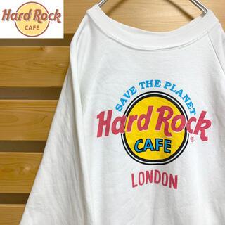 Hard rock cafe スウェット トレーナー ホワイト ビッグシルエット(スウェット)