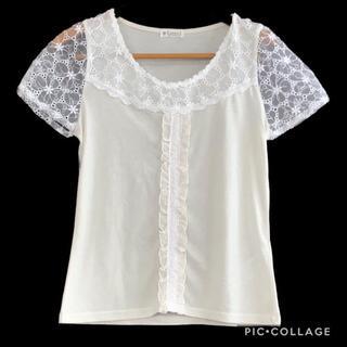 アクシーズファム(axes femme)の21.刺繍オーガンジー袖のカットソー(カットソー(半袖/袖なし))