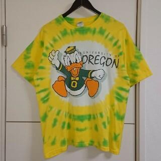 オレゴン大学 ダックス タイダイTシャツ カレッジ古着 ドナルドダック