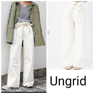 Ungrid - Ungrid ハイウエスト ワイドデニム デニム 白 アングリッド