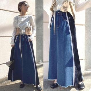 Ameri VINTAGE - Ameri【未使用品】ロゴ プリーツ デニムスカート