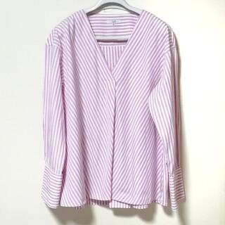 23区 - 大きいサイズ  23区  長袖 Vネックストライプシャツ 40