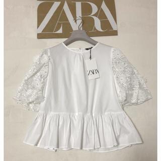 ZARA - 新品 ZARA 立体レース付き パワショル ブラウス タグ付