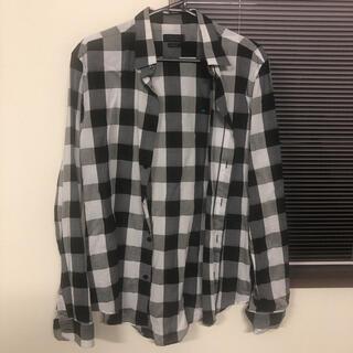 ZARA - ZARA チェックシャツ ブラック×ホワイト メンズ Mサイズ 薄手 オシャレ