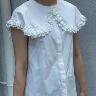 MYINE マイン ダブルレースビックカラーノースリーブシャツ(シャツ/ブラウス(半袖/袖なし))