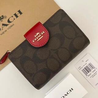 COACH - COACH コーチ 折り財布 シグネチャー レッド 赤色 二つ折り財布